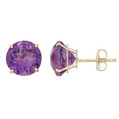 Amethyst 10k Gold Stud Earrings