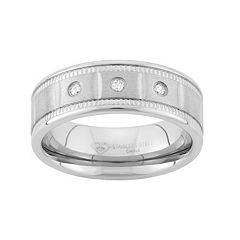 1/10 Carat T.W. Diamond Stainless Steel Wedding Band - Men