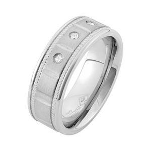1/10 Carat T.W. Diamond Stainless Steel Wedding Band - Men