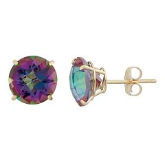 Mystic Topaz 10k Gold Stud Earrings