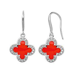 Marie Claire Jewelry Crystal Silver Tone Clover Drop Earrings