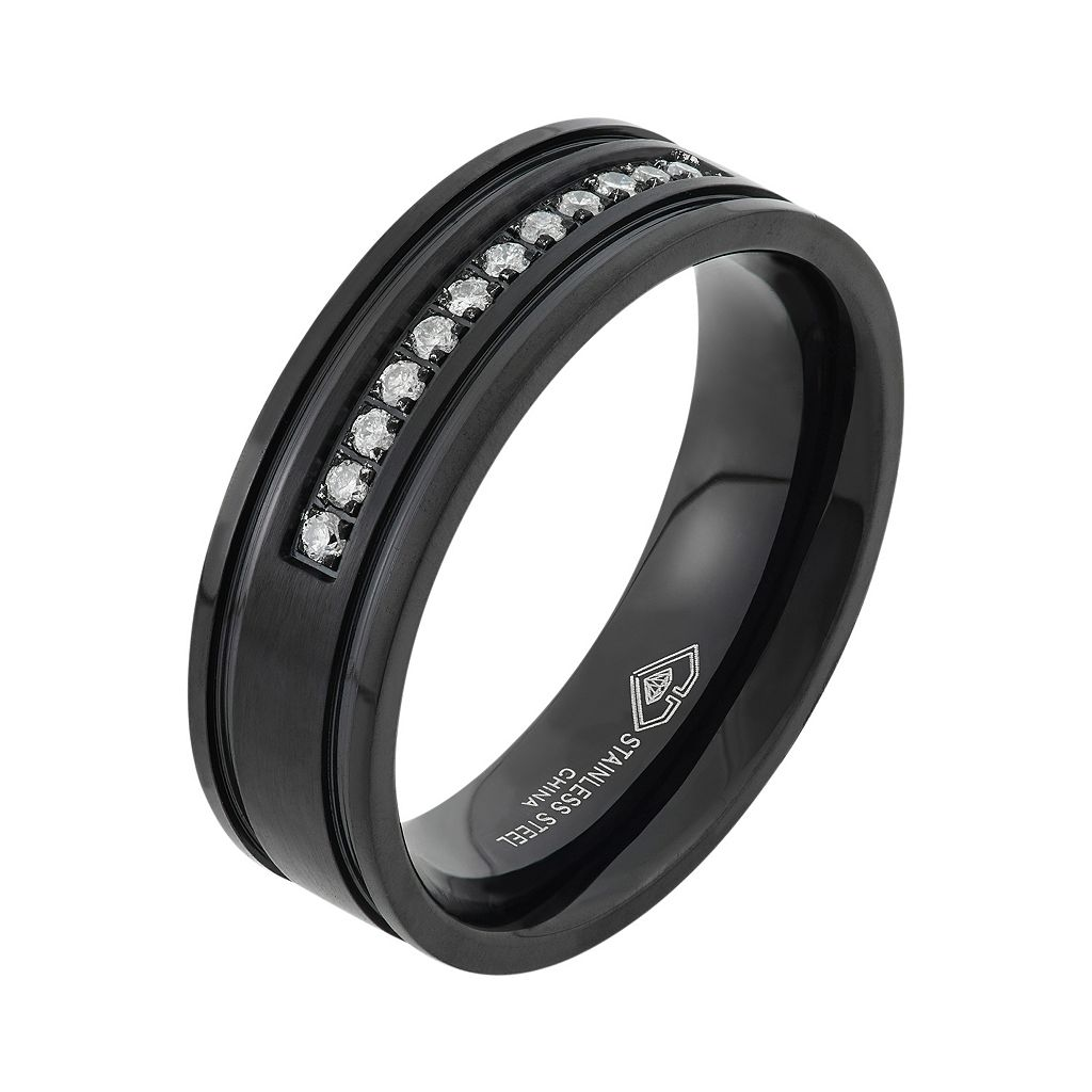 1/6 Carat T.W. Diamond Black Ion-Plated Stainless Steel Wedding Band - Men