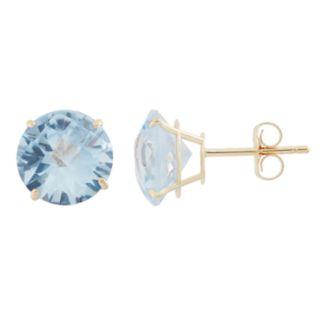 Lab-Created Aquamarine 10k Gold Stud Earrings