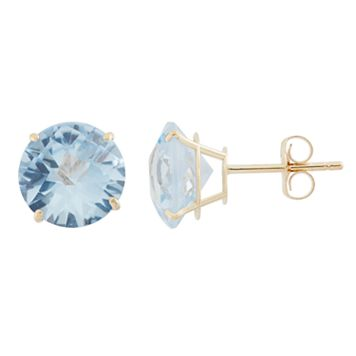 Lab-Created Aquamarine 10k Gold Stud Earrings