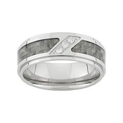 1/10 Carat T.W. Diamond Stainless Steel & Carbon Fiber Wedding Band - Men