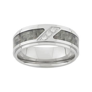 1/10 Carat T.W. Diamond Stainless Steel & Carbon Fiber Wedding Band - Men