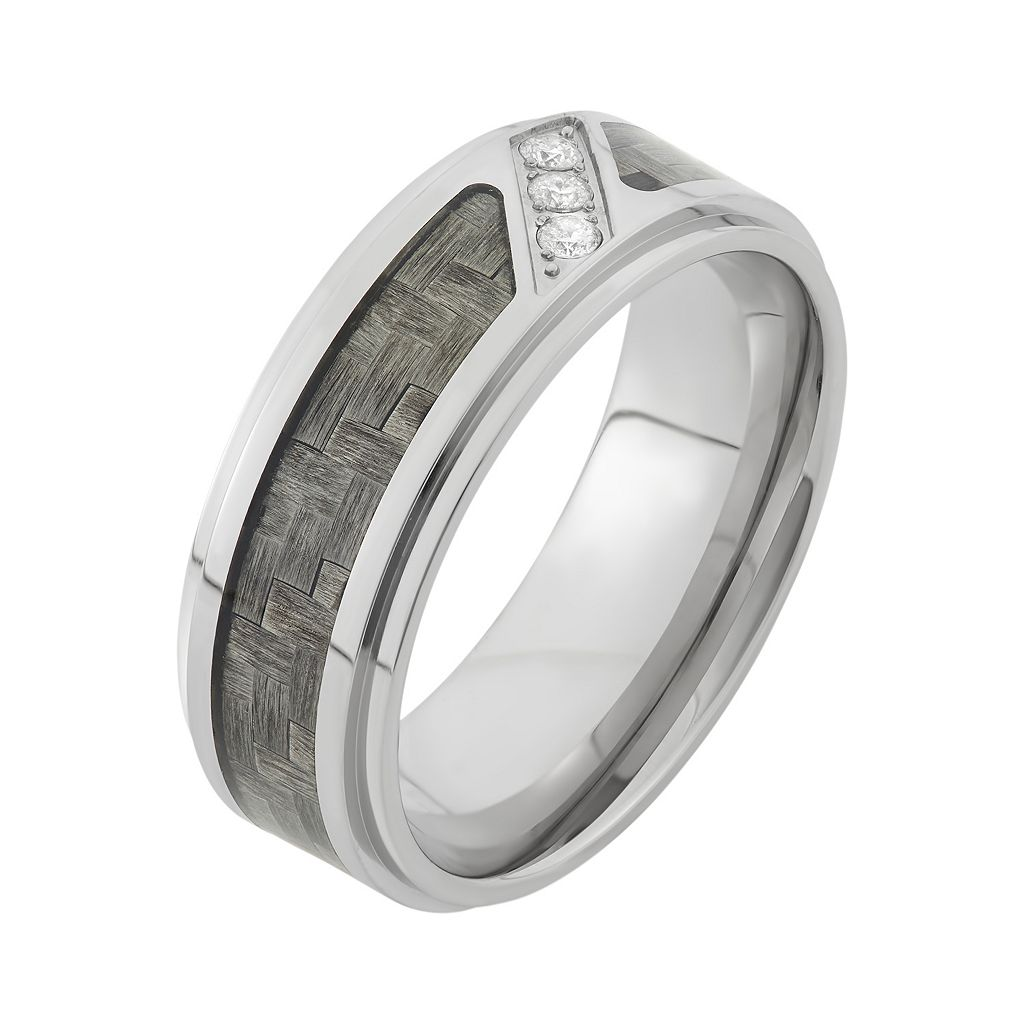 1/10 Carat T.W. Diamond Stainless Steel and Carbon Fiber Wedding Band - Men