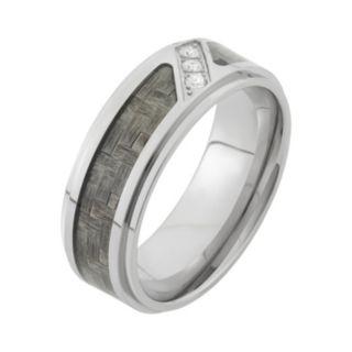1/10 Carat T.W. Diamond Stainless Steel and Carbon Fiber Wedding Band - Men