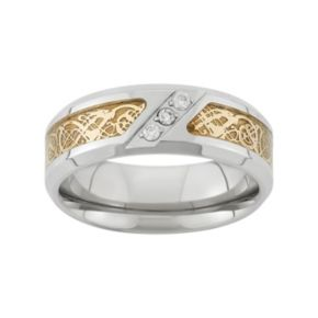 1/10 Carat T.W. Two Tone Stainless Steel Wedding Band - Men