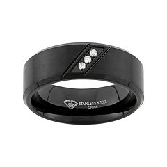Diamond Accent Black Ion-Plated Stainless Steel Wedding Band - Men