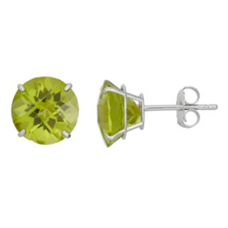 Peridot 10k White Gold Stud Earrings