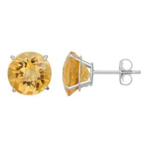 Citrine 10k White Gold Stud Earrings