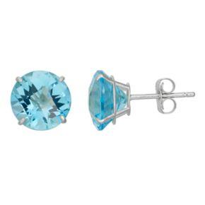 Swiss Blue Topaz 10k White Gold Stud Earrings