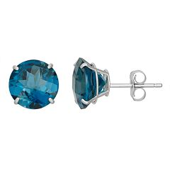 London Blue Topaz 10k White Gold Stud Earrings