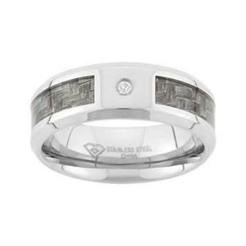 Diamond Accent Stainless Steel & Carbon Fiber Wedding Band - Men