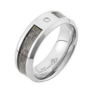 Diamond Accent Stainless Steel and Carbon Fiber Wedding Band - Men