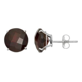 Garnet 10k White Gold Stud Earrings