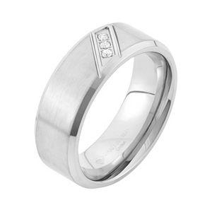 Diamond Accent Stainless Steel Wedding Band - Men
