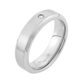 Diamond Accent Stainless Steel Wedding Band - Men