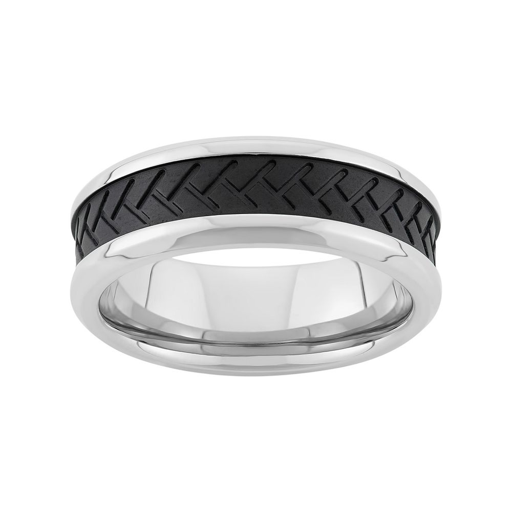 Two Tone Stainless Steel Tire Tread Wedding Band