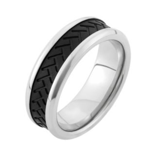 Two Tone Stainless Steel Tire Tread Wedding Band - Men