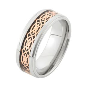 Tri-Tone Stainless Steel Celtic Wedding Band - Men