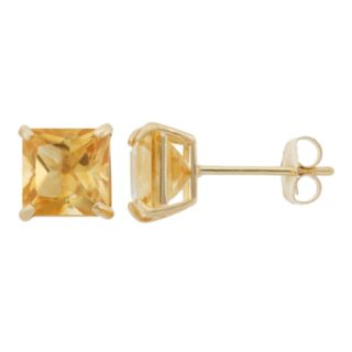 Citrine 10k Gold Stud Earrings