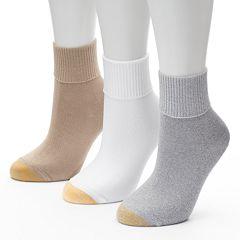 GOLDTOE® 3 pkUltrasoft Turn-Cuff Crew Socks - Women