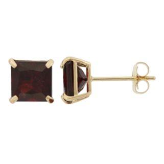 Garnet 10k Gold Stud Earrings