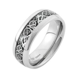 Two Tone Stainless Steel Wedding Band - Men