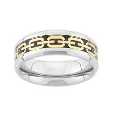 Tri-Tone Stainless Steel Chain Link Wedding Band - Men
