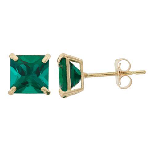 Lab-Created Emerald 10k Gold Stud Earrings