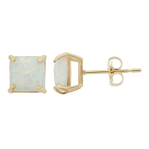 Lab-Created Opal 10k Gold Stud Earrings
