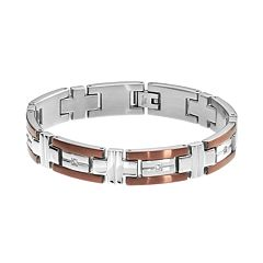 1/6 Carat T.W. Diamond Two Tone Stainless Steel Bracelet - Men