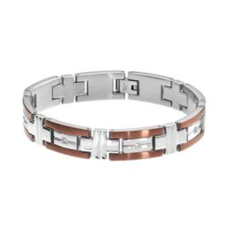 1/6 Carat T.W. Diamond Two Tone Stainless Steel Bracelet - Men