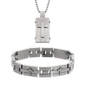 Two Tone Stainless Steel Cross Dog Tag and Bracelet Set - Men