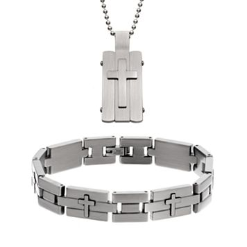 Two Tone Stainless Steel Cross Dog Tag & Bracelet Set - Men