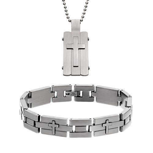Two Tone Stainless Steel Cross Dog Tag & Bracelet Set - Men