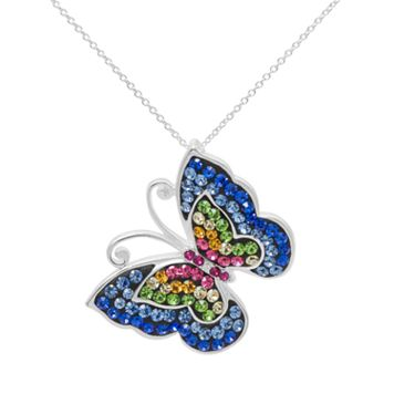 Crystal Sterling Silver Butterfly Pendant Necklace