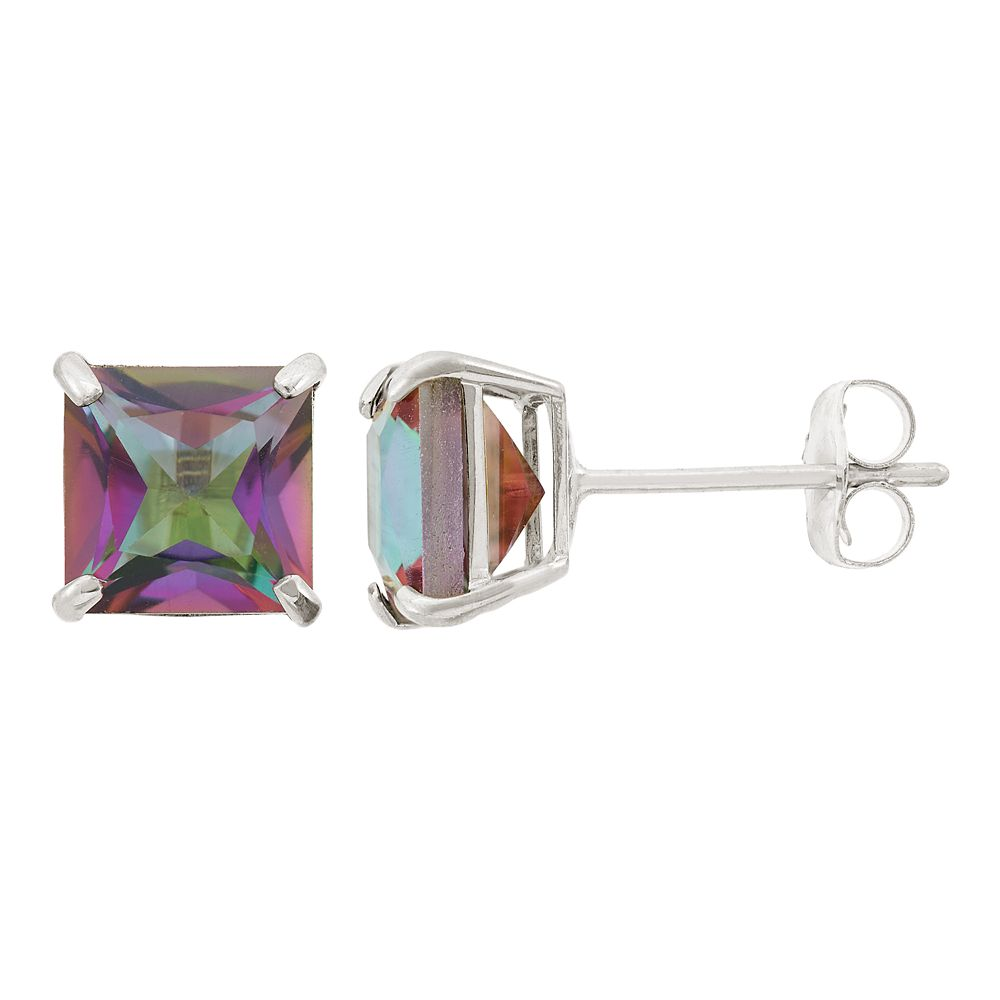 Mystic Topaz 10k White Gold Stud Earrings