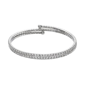 Duchess of Dazzle Crystal Silver Tone Coil Bracelet