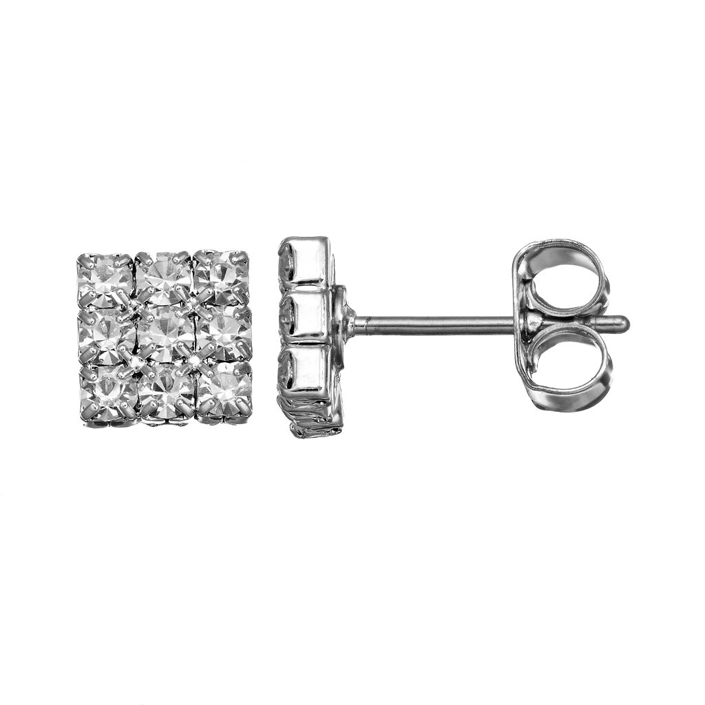 Duchess of Dazzle Crystal Silver Tone Square Stud Earrings