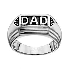 Stainless Steel 'Dad' Ring - Men