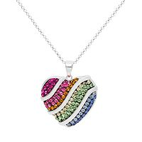Crystal Sterling Silver Heart Pendant Necklace