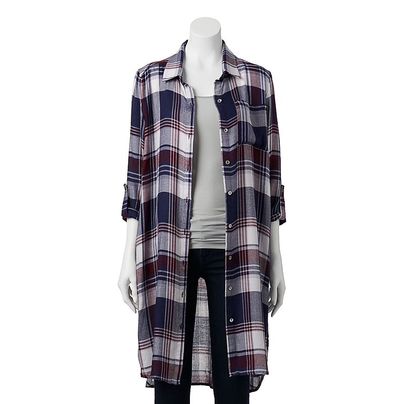 About A Girl Roll Sleeve Plaid Super Tunic Top - Juniors