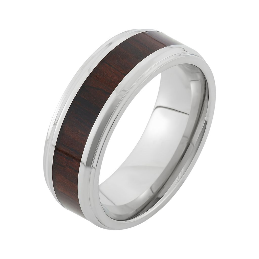 Stainless Steel and Wood Striped Wedding Band - Men