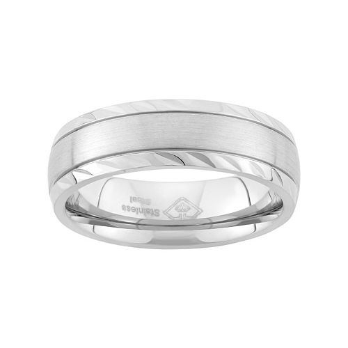 Stainless Steel Textured Wedding Band - Men