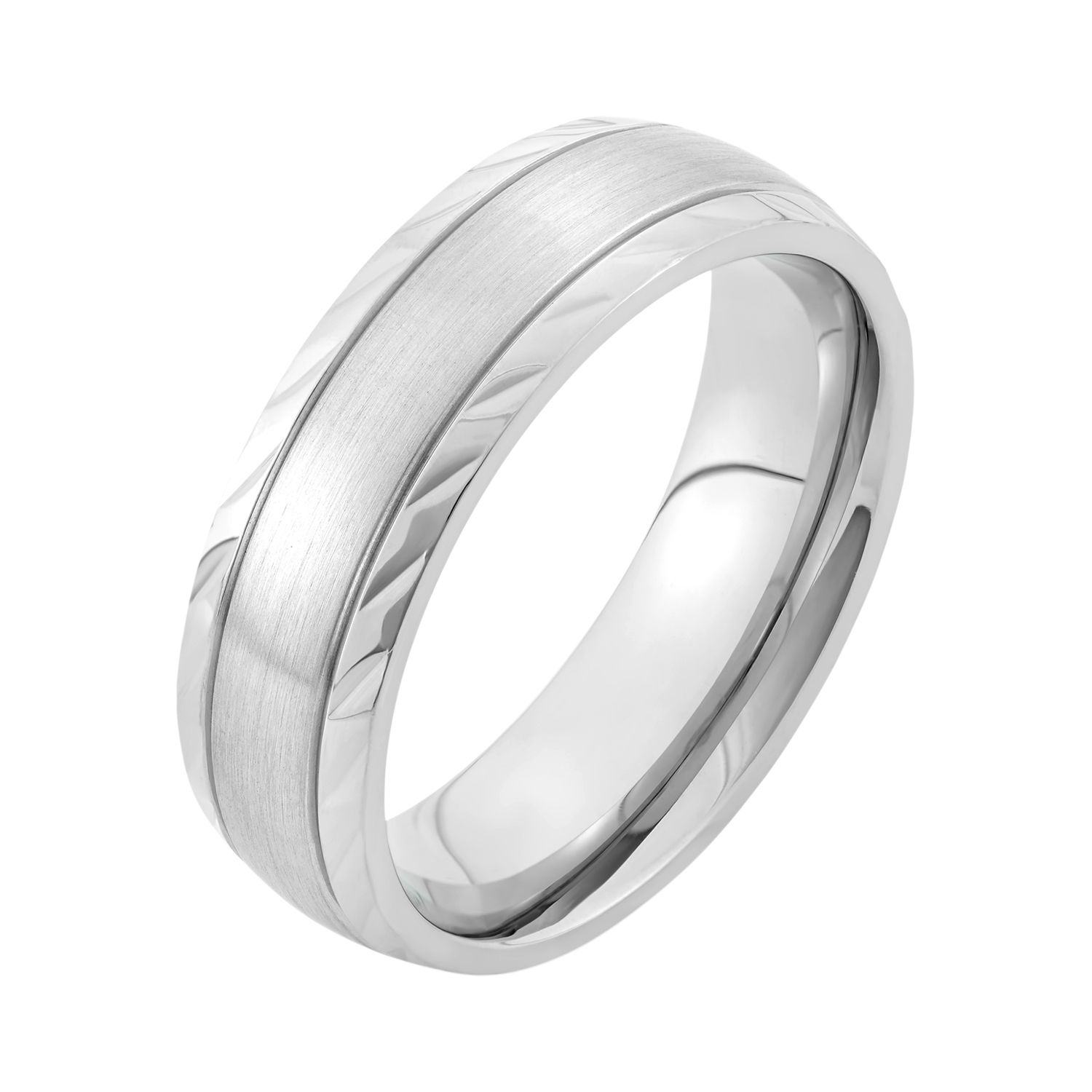 his ti matt titanium wedding p polished hers rings