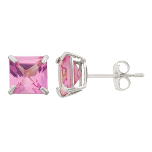 Lab-Created Pink Sapphire 10k White Gold Stud Earrings