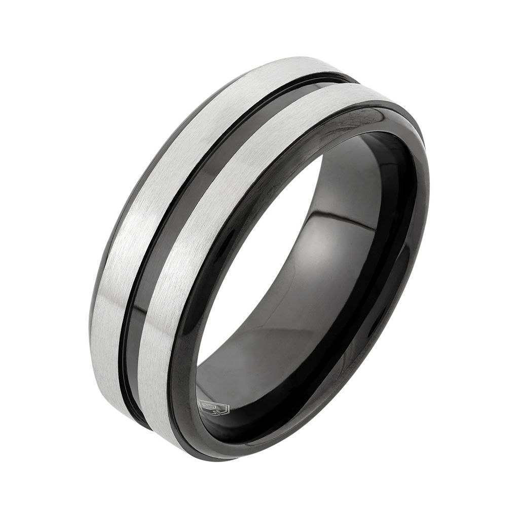 Two Tone Stainless Steel Striped Wedding Band - Men